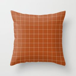 """Windowpane Check Grid (white/burnt Orange) Couch Throw Pillow by Design Minds Boutique - Cover (16""""  