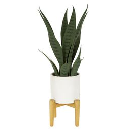 Better Homes & Gardens White Planter with Faux Snake Plant and Pot Stand   Walmart (US)