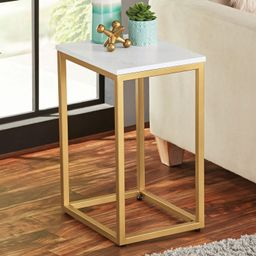 Mainstays End Table, White Top with Gold Frame   Walmart (US)