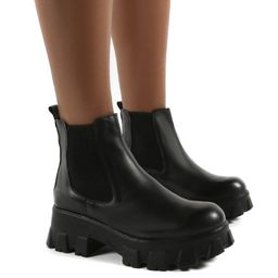 Attain Black PU Chunky Sole Ankle Boots | Public Desire
