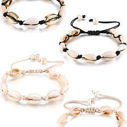 meekoo 4 Pieces Natural Cowrie Shell Ankle Bracelets Seashell Crochet Ankle Bracelet Handmade Boh... | Amazon (US)