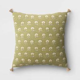 Block Print Throw Pillow with Tassels - Threshold™ | Target