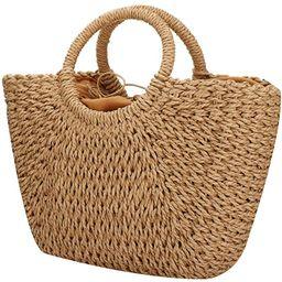 Women Summer Beach Bag, Straw Handbag Top Handle Big Capacity Travel Tote Purse Hand Woven Straw ... | Amazon (US)