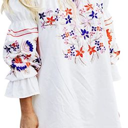 R.Vivimos Womens Floral Embroidered Off Shoulder Long Sleeve Short Dresses   Amazon (US)