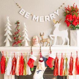 BE MERRY Garland  Glitter Christmas Banner Christmas   Etsy   Etsy (US)
