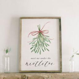 Christmas Framed Wood Sign - Meet Me Under the Mistletoe, Handmade in USA, Winter Decor, Gift, Pr... | Etsy (US)