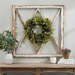 Wreath Topped Windowpane Wall Plaque | Kirkland's Home