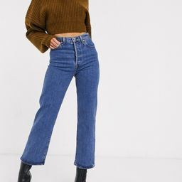 Levi's Ribcage straight leg ankle grazer jeans in midwash blue | ASOS (Global)