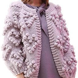 Chicwish Women's Soft Heart Shape Balls Hand Knit Open Front Hot Pink/Ivory/Lavender/Pink/Army Gr... | Amazon (US)