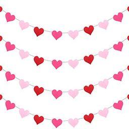 [Pack of 4] Felt Heart Garland Banner - NO DIY - Valentines Day Banner Decor -Valentines Decorati... | Amazon (US)