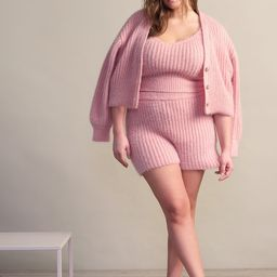 Cropped Fuzzy Cardigan - Silver Pink | Eloquii