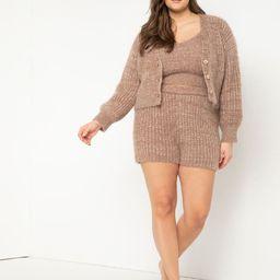 Fuzzy Sweater Shorts - Heathered Neutral | Eloquii