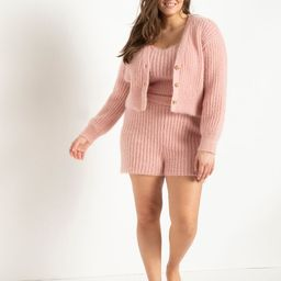 Fuzzy Sweater Shorts - Silver Pink | Eloquii