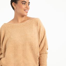 Slouchy Off the Shoulder Top - Tan | Eloquii