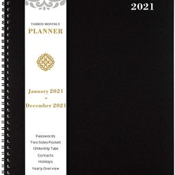 2021 Monthly Planner/Calendar - 12-Month Planner with Tabs & Pocket & Label, Contacts and Passwor...   Amazon (US)