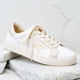 Find The Best White And Champagne Gold Sneakers | Red Dress