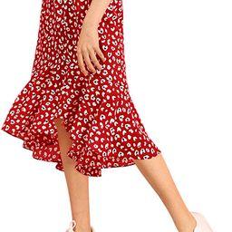 Women's Leopard Floral Printed Ruffle Hem Mermaid Asymmetrical Midi Skirt | Amazon (US)