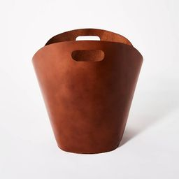 """Decorative Leather Basket 14.75"""" x 15"""" Brown - Threshold™ designed with Studio McGee 