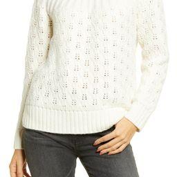 Pointelle Stitch Mix Mock Neck Sweater   Nordstrom