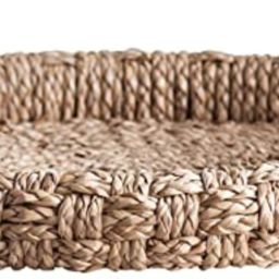 Creative Co-op Round Braided Bankuan Handles Tray, Brown   Amazon (US)