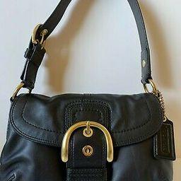 Details about  COACH SOHO FLAP Black Leather Buckle Shoulder Shopper Buckle Purse Bag | eBay US