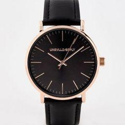 ASOS DESIGN watch in black with rose gold case | ASOS (Global)