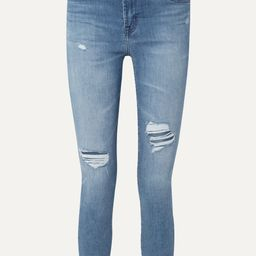 Mid denim Alana cropped distressed high-rise skinny jeans   J Brand   NET-A-PORTER   Net-a-Porter (Global excpt. US)