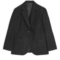 Oversized Wool Hopsack Blazer - Black   ARKET
