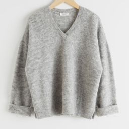 Oversized V-Neck Ribbed Sweater - Grey | & Other Stories