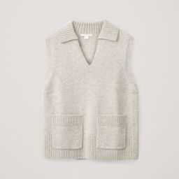 LAMBSWOOL V-NECK COLLAR KNITTED VEST | COS (Global)