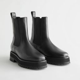 Squared Toe Leather Chelsea Boots - Black | & Other Stories