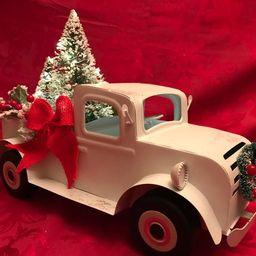White Metal Truck, Vintage Truck, Farmhouse Truck, Metal Farm Truck Decor, Pickup Truck With Ligh... | Etsy (US)