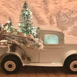 White Metal Truck, Vintage Truck, Farmhouse Truck, Pickup Truck With Lights, Metal Farm Truck, Fa... | Etsy (US)