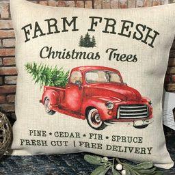 Farm Fresh Tree and Truck Christmas Pillow, Christmas Decor, Pillow Covers, Farmhouse Christmas, ... | Etsy (US)
