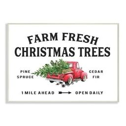 Stupell Industries Farm Fresh Christmas Trees Red Truck Holiday Word Design Wood Wall Art, Proudl... | Overstock