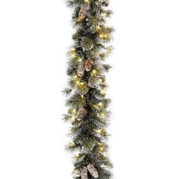 """9' x 10"""" Pre-lit Glitter Artificial Christmas Pine Garland with Cones, Snowflakes and 100 Clear L... 