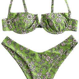 ZAFUL Women's Floral Print Push-up V-Wire Lettuce Bikini Set High Cut Spaghetti Straps Underwir... | Amazon (US)