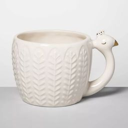 14oz Stoneware Peacock Figural Mug Cream - Opalhouse™ | Target