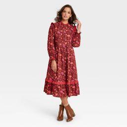 Women's Floral Print Balloon Long Sleeve Ruffle Dress - Universal Thread Burgundy S, Red | Target