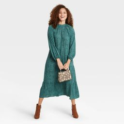 Women's Printed Long Sleeve Tiered Dress - A New Day Green L | Target