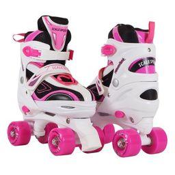 Adjustable Quad Roller Skates For Kids Teens And Ladies Medium Size Pink | Walmart (US)