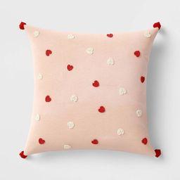 Square Beaded Velvet Valentine's Day Hearts Pillow Blush - Opalhouse™   Target