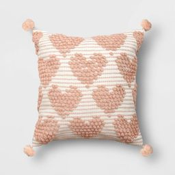 Square Valentine's Day Hearts Pillow Cream/Blush - Opalhouse™   Target