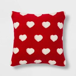 Square Sherpa Valentine's Day Hearts Pillow Red -Spritz™ | Target
