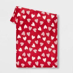 Plush Valentine's Day Hearts Throw Red/Cream -Spritz™ | Target