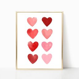 Valentine's Day, Watercolor Hearts Sign Printable Art, Red Heart Print, Pink Heart, Classroom Dec...   Etsy (US)