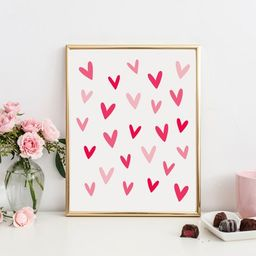 Hearts Printable Wall Art, Valentine Printable Kids Room Decor, Heart Wall Art, Valentines Day De...   Etsy (US)