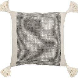 "Bloomingville A40110195U1 Grey & Cream Corner Grey Square Cotton Blend Pillow with Tassels, 18"" | Amazon (US)"