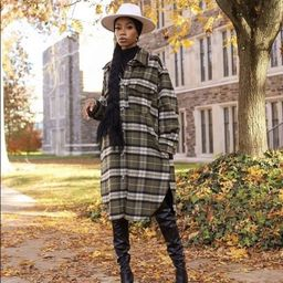 H&M Green Plaid Long Sleeves Jacket Shacket Medium NEW   Etsy   Etsy (US)