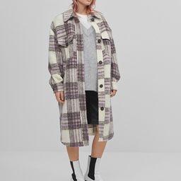 Bershka brushed longline overshirt shacket in lilac plaid   ASOS (Global)
